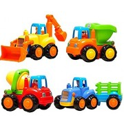 HALO NATION Unbreakable Construction Vehicle Set of 4 - Friction Powered - Tractor , JCB , Mixer , Dumper