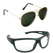 Magjons Fashion Combo Of Gold green Aviator And Night Driving Sunglasses