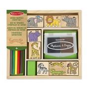 Melissa & Doug 18786 Wooden Stamp Set: Safari Animals - 9 Stamps, 5 Coloured Pencils, 2-Colour Pad, Multicolour