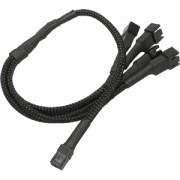 Cablu adaptor Nanoxia 3-pini Fan la 4x 3-pini, 30cm, black/black