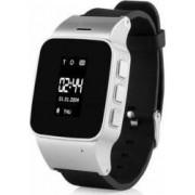 Ceas smartwatch pentru copii si adulti Wonlex EW100 cu functie telefon, buton SOS si alarma, argintiu