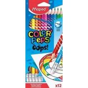 Creioane colorate Color Peps Oops cu guma 12 culori/set Maped