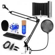 Auna CM001BG Set de micrófono V5 Micrófono de condensador Adaptador USB Brazo de micrófono Protección anti pop escudo (60002029-V5KO)