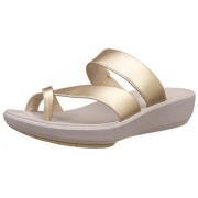 Clarks Women's Wave Bright Champagne Leather Flip-Flops and House Slippers - Flip Flops - Plastic Moulded - 3 UK/India (35.5 EU)