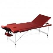 vidaXL Алуминиева масажна кушетка с 3 зони, цвят: червен