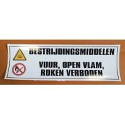 Sticker Attentie Bestrijdingsmiddelen, vuur open vlam, roken verboden