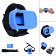 Funda protectora de muneca elastico de la correa de silicona para GoPro Hero3 + / 3 Wi-Fi Remote Control - Azul