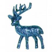 Bellatio Decorations Turquoise deco rendier met glitters 10 cm