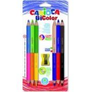 Creioane colorate CARIOCA Jumbo Bi-color hexagonale bicolor 6 buc-blister