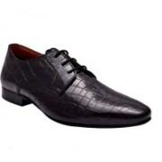 Hirel's Men Croc Patent Leather Derby Lace Up Shoes For Men(Black)
