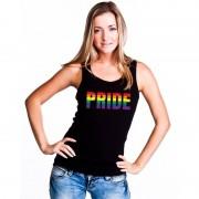 Bellatio Decorations Pride regenboog tekst singlet shirt/ tanktop zwart dames