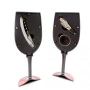 Set accesorii pentru vin in cutie in forma de pahar rosu