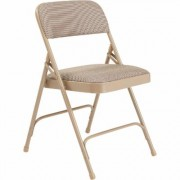 National Public Seating Steel Folding Chairs with Fabric Padded Seat and Back - Set of 4, Cafe Beige/Beige, Model 2201
