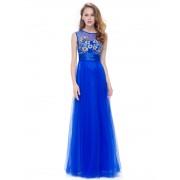 Modré šaty s krajkovými květinami na živůtku