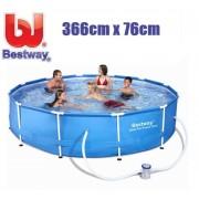 Bestway 366x76cm csővázas medence 1250l/h vízforgatóval 56681