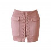 Lace-up de gamuza de cuero falda de lápiz de cintura alta Cruz Bodycon faldas cortas