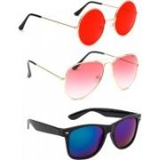 Elligator Round, Aviator, Wayfarer Sunglasses(Red, Pink, Blue)