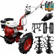 Pachet motocultor Media Line MS 15000 CF model 2019 motor 15CP freza segmentabila 140cm roti cauciuc rarita fixa roti metal + Cultivator +