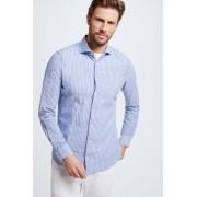 Strellson Chemise en coton et lin Sereno, bleu/blanc à rayures taille: 42