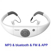Tayogo Waterproof Mp3 Player 8GB Swimming Bluetooth Headset Underwater 10feet with FM APP Flash Drive for Swimming Running Riding Walking SPA and Other Water Sport with Shuffle Feature-White