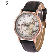World Map fashion Unisex Leather band Roman Quartz Watch for men and women