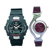 CREATOR S-showy Neon ILLUMINATOR And Noilon Time Concept Digital Sports And Analog Watches Combo For Couple