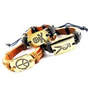 eshoppee skull dangerous peace sign leather bracelt wrist band for man and women set of 3 pcs men's bracelet