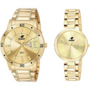 Espoir Analog Stainless Steel 18k Gold Plated Golded Dial Couple's Watch - Golden-LatestManisha