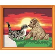 Раскрашивание по номерам «Котенок и щенок»