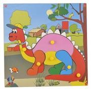 Skillofun Wooden Theme Puzzle Standard Dinosaur Knobs, Multi Color