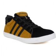 Sukun Black Yellow Sneaker Style Casual Shoes