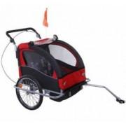 Remorca de bicicleta Qaba - rosu+negru