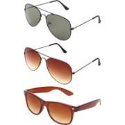 Abner Aviator, Aviator, Wayfarer Sunglasses(Green, Brown, Brown)