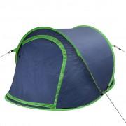 vidaXL Саморазгъваща се палатка, двуместна, тъмносиньо и зелено