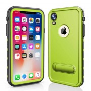 REDPEPPER Dot+ Series Dustproof Snowproof IP68 Waterproof Cell Phone Case with Kickstand for iPhone XR 6.1 inch - Green