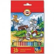 Комплект цветни моливи Koh-i-Noor Том и Джери, 36 цвята, 2200034