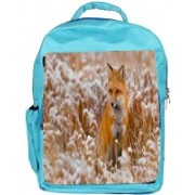Snoogg Eco Friendly Canvas Fox In White Garden Designer Backpack Rucksack School Travel Unisex Casual Canvas Bag Bookbag Satchel 5 L Backpack(Blue)