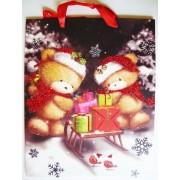 Mackók csillámos karácsonyi ajándéktáska. L méret