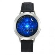 Csillagos ég számlapos, ezüst óratokos LED óra