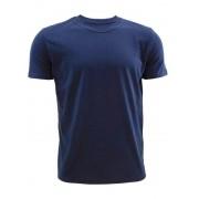 Российский трикотаж Хлопковая мужская футболка свободного кроя темно-синего цвета SIMF02-006 т.-синий