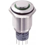 Întrerupător anti-vandalism 16 mm, iluminare 12V/inel, IP 67, 2 x ON/(ON), material oţel inoxidabil, buton în relief, conexiune prin lipire, culoare led verde