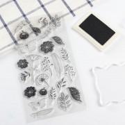 Tampon papillon fleur transparent pour scrapbooking