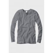 CECEBA férfi póló hosszúujjú, bordázott anyag szürke XL