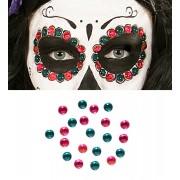 Set de 40 Gemas Adhesivas decorativas Ojos Rosa / Verde
