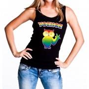 Shoppartners Yoehoe gay pride tanktop met knipogende uil zwart voor dames