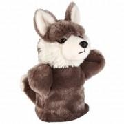 Merkloos Wolf handpoppen pluche 26 cm