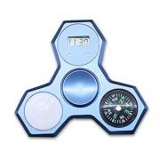 Owlce Fidget Spinner Metal Rainbow Cool with Compass Clock Led Light (Blue)