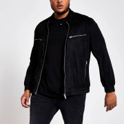 River Island Mens Big and Tall Black faux suede racer jacket (XXXXXL)