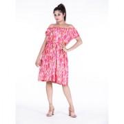 Dhruvi's Western Wear Knee Long Midi Dress Dress in Elegant Print & Design ( Pink Free Size)
