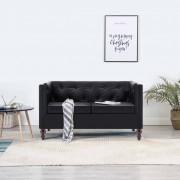 vidaXL 2-местен Честърфийлд диван, тапицерия от изкуствена кожа, черен
